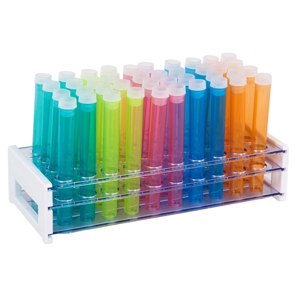 50 Tube - 16x125mm Assorted Color Plastic Test Tube Set with Caps and Rack by Karter Scientific