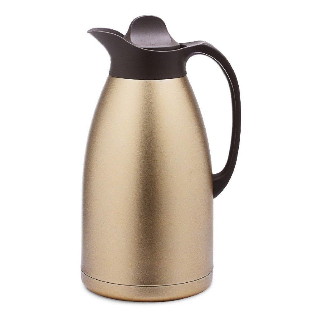 ASDYY Isolierkanne, Kaffeekanne Edelstahl Thermos Hause 3 Liter Große Kapazität Isolierkanne,Gold-3L LX