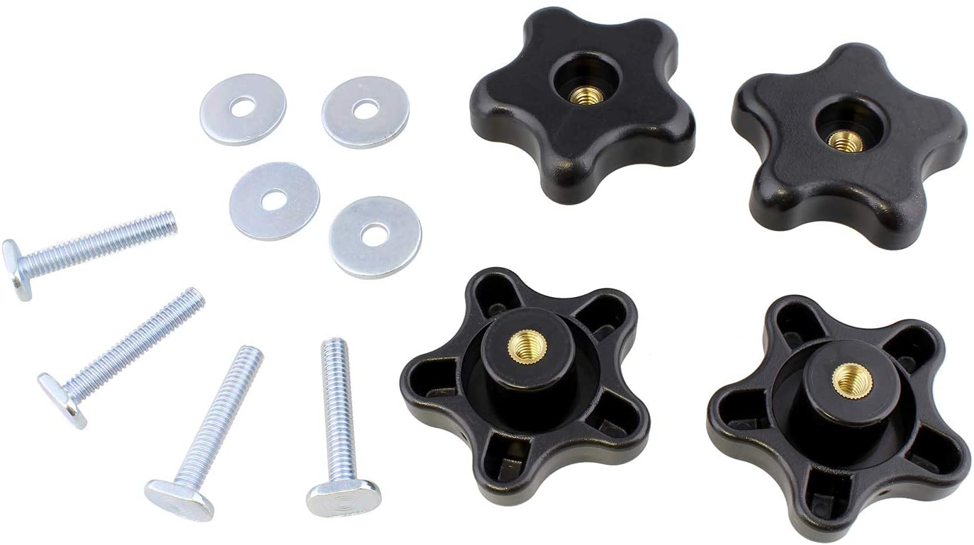 DCT 5 Star Knobs Kit 1/4in-20 Threaded Knob, Bolt with Knob, Clamping Knob Jig Knobs T Track Knobs and Bolts 4-Pack