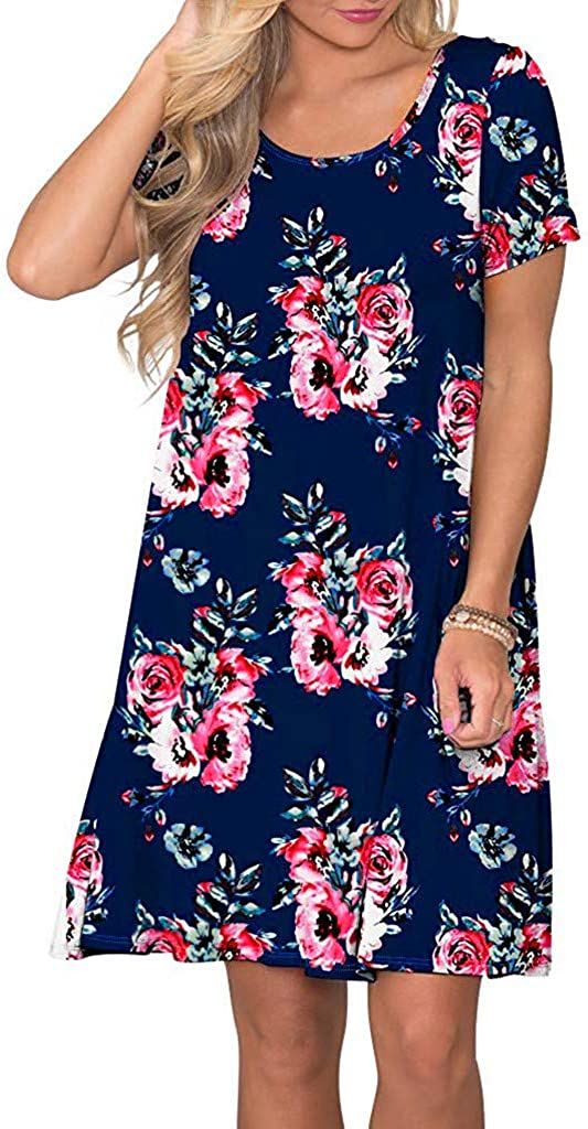 Womens Summer Casual Short Sleeve Floral Printed Swing Dress Sundress with Pockets Casual Loose Mini Dress