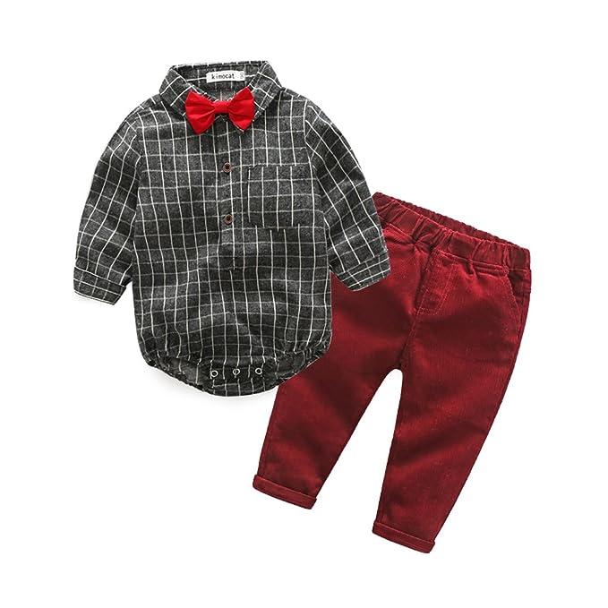 2b324756 Kimocat Baby Boy Clothing Sets Gentleman Bow Tie Long Sleeve Romper  Jumpsuit Shorts Clothing Set (