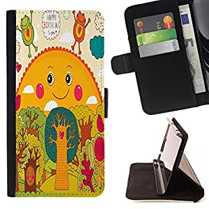 King Case - FOR Samsung Galaxy S6 EDGE - boy with the elephant - Prima caja de la PU billetera de cuero con ranuras para tarjetas, efectivo Compartimiento desmontable y correa para la mu?eca