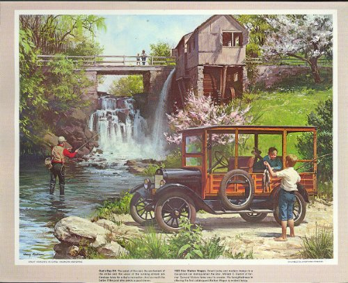 1923 Star Station Wagon fishing at waterfall Humble Oil calendar print 1960s