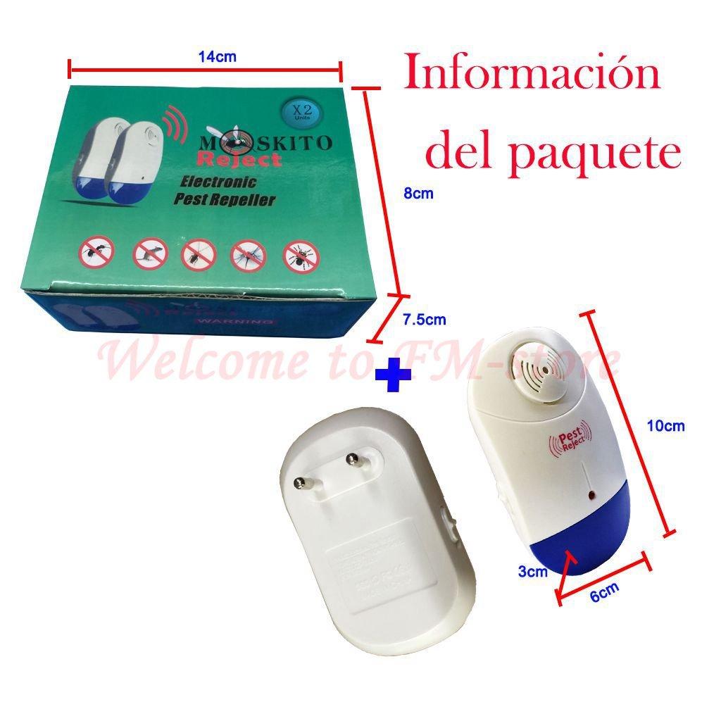 Repelente de plagas ultrasónico, control de plagas en interiores para ratones, cucarachas, mosquitos, moscas, roedores, hormigas, arañas, pulgas, ...