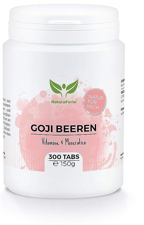 Bayas de Goji Orgánicas (300 tabletas) - Rico en Vitaminas y Minerales - Beneficio