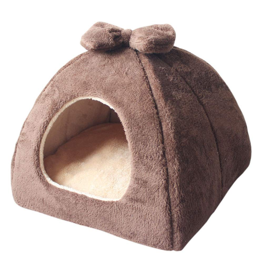 Brown MediumPet Cave Tent House Bed for Dogs and Cats  color Size Optional