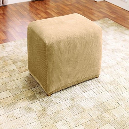 SureFit Stretch Pique 1-Piece Ottoman Slipcover Cream SF38683
