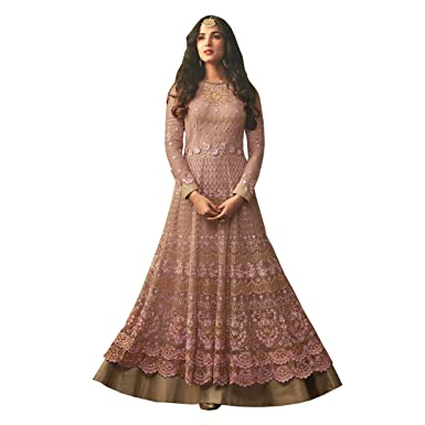 0e355b1dea6e Like A Diva Dusky Pink Floral Embroidered Semi Stitched Anarkali Suit  Material with Layered Look in