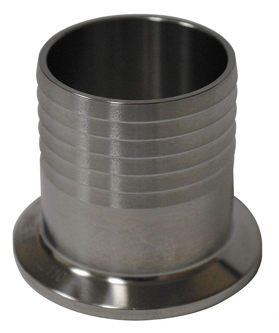T316L Stainless Steel Hose Barb Adapter, Clamp x Hose Barb Connection Type, 3'' Tube Size