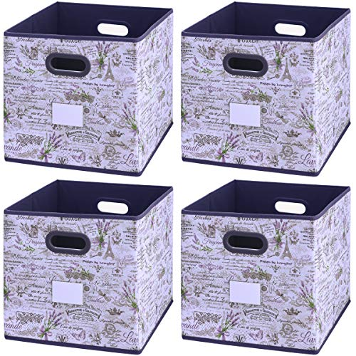 Onlyeasy Cloth Storage Bins - Foldable Basket Cubes Organizer Container with Lable Holder and Double Plastic Handles for Home Closet Bedroom Cubby, 10.5x10.5x11, 4 Pack Lavender, 7MXLVBS04PL