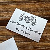 Qty 100 Iron on Clothing label sewing custom name tag Heart ball of yarn design handmade with love by business name text logo personalized soft satin ribbon waterproof washable label size 1.2''