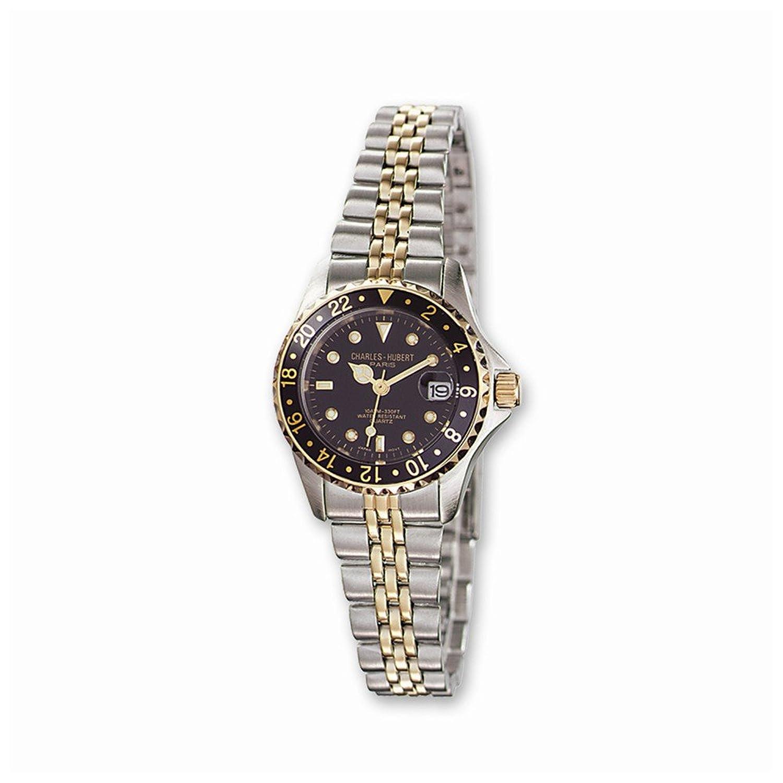 レディース用ツートンカラーステンレススチールブラックダイヤルウォッチby Charles Hubert Paris腕時計、無料ギフトボックス B00D86G41W