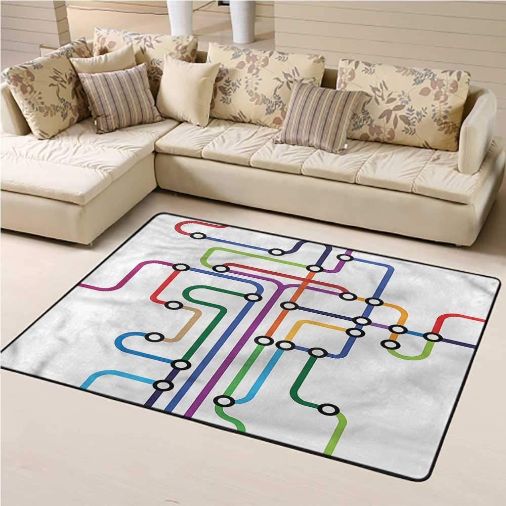 """Soft Large Area Rug Map Durable and Easy Maintenance Abstract Colorful Subway for Entryway Living Room Bedroom Home Decor (5'7""""x8'6"""")"""