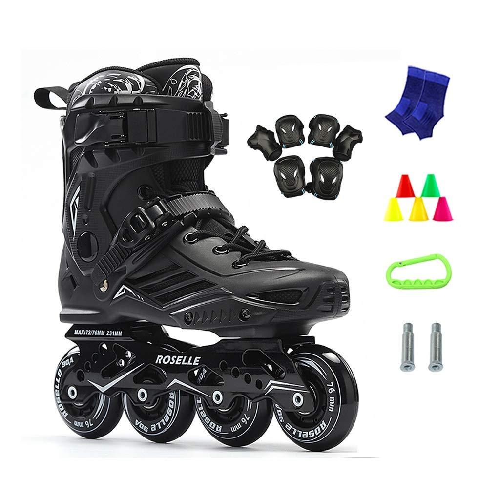 JIANXIN 女性、男性、初心者スケート、黒に適したホイールローラースケートをインラインライトアップ A