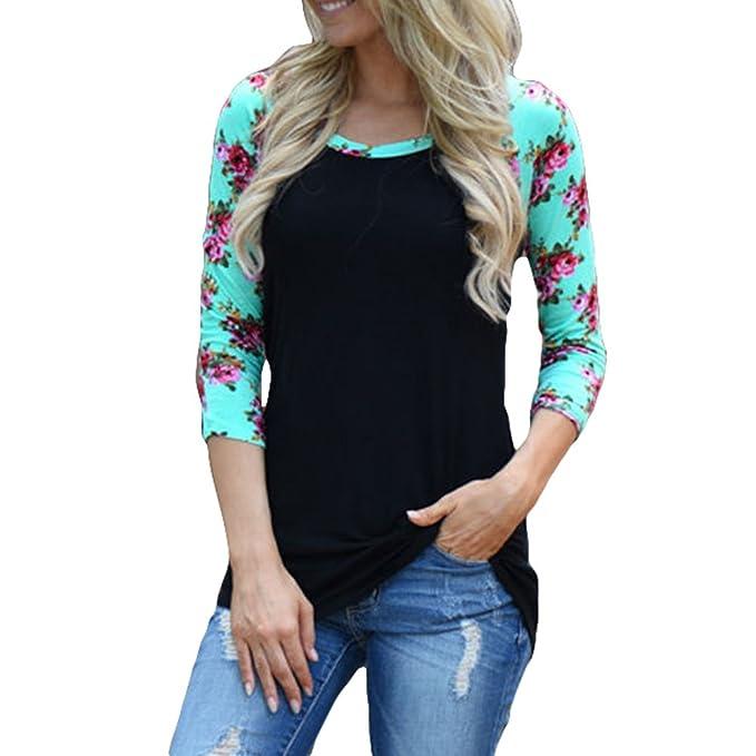 Hibote Blusas Mujer Camisas Florales Camisetas Rayas Tops Impresión Blusa 3/4 Mangas Blusas Cuello
