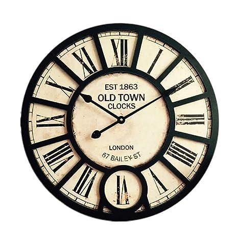 Reloj De Pared De Madera Retro Viento Industrial Silencioso Restaurante Bar Cafe Decoración Reloj Sala De