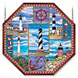 Amia 6468 Window Decor Panel, Lighthouse Collage Design, Hand-painted Glass, 22-Inch W by 22-Inch L