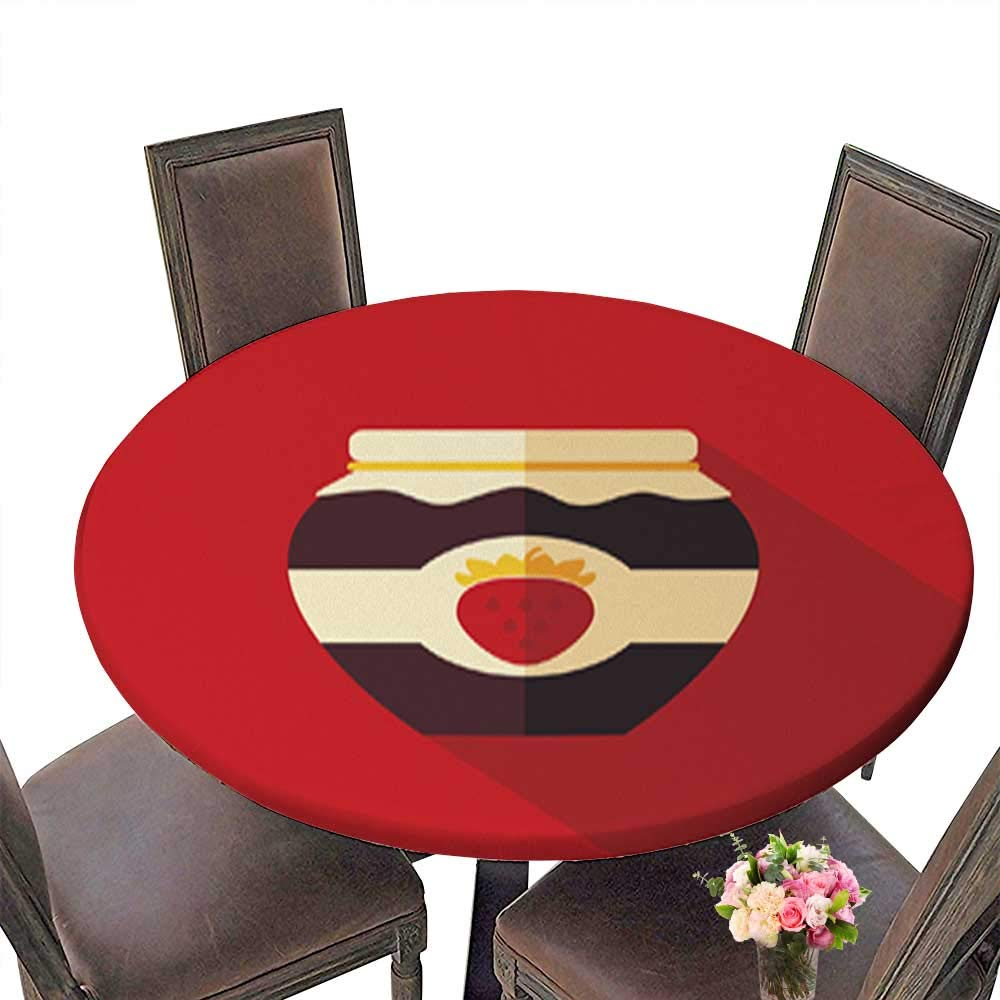 Polyesters Round Tablecloth,Strawberry jam jar Flat icon with Long Shadow Wedding Birthday Baby Shower Party up to 31.5''-33.5'' Diameter