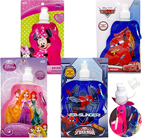 Kids Girls Boys Disney Princess Marvel Superheros Assorted Reusable Collapsible Soft Water Bottles with Carabiner Set 4 Count 12oz Approved BPA Free Drink and Juice Pouches for Travel Goodies Gifts