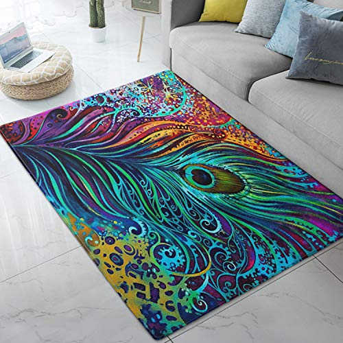 Area Rugs Peacock Feathers Colorful Large Floor Mat for Living Dining Dorm Playing Room Bedroom 5' x 7'