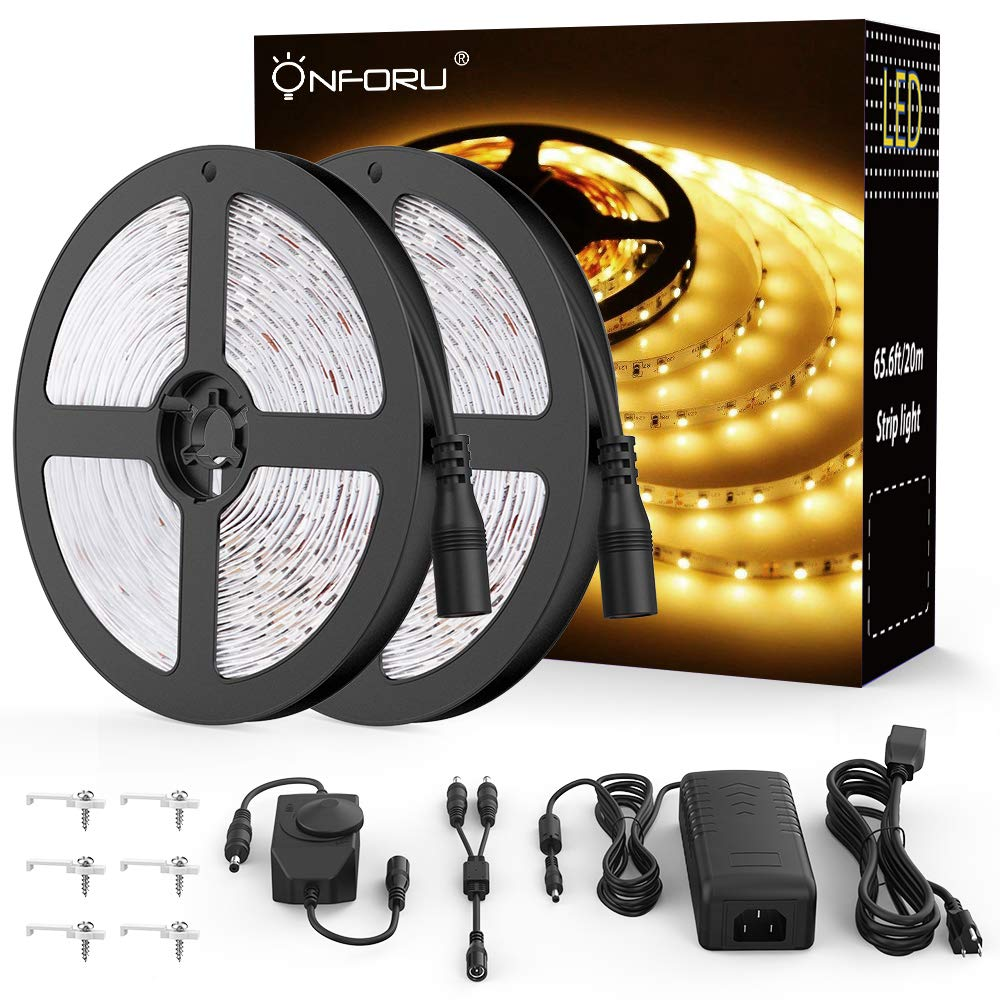 Onforu 66ft Dimmable LED Strip Lights Kit, UL Listed Power Supply, 3000K Warm White, 20m 1200 Units 2835 LEDs, 12V LED Rope, Under Cabinet Lighting Strips with Dimmer, Non-Waterproof LED Tape by Onforu