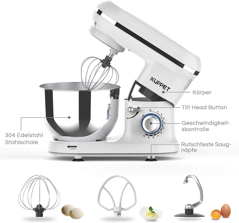 KUPPET Küchenmaschine, 4.5L Edelstahl Rührschüssel,10 Geschwindigkeit Geräuschlos Teigmaschine, Knethaken, Rührbesen, Schlagbesen und Spritzschutz, LED-Licht (Blau) Weiß