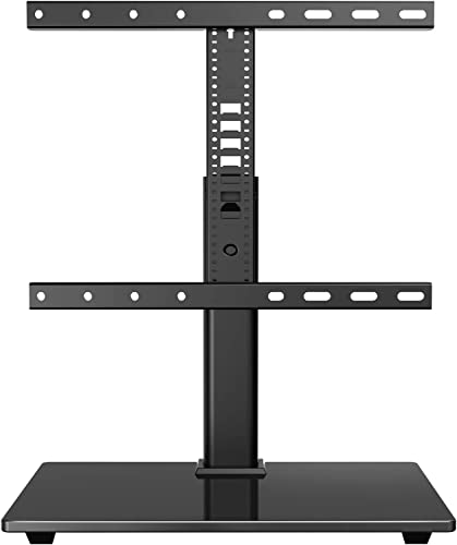 PERLESMITH Universal TV Stand-Table Top TV Stand for 32-55 lnch LCD OLED Flat Screen 4K TVs – Height Adjustable TV Base Mount with Tempered Glass Base, VESA 400x400mm up to 88lbs