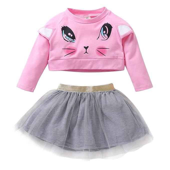 Happy-day Ropa Bebe niña,Conjunto de Falda de Malla con Estampado de Gato de niñas: Amazon.es: Ropa y accesorios