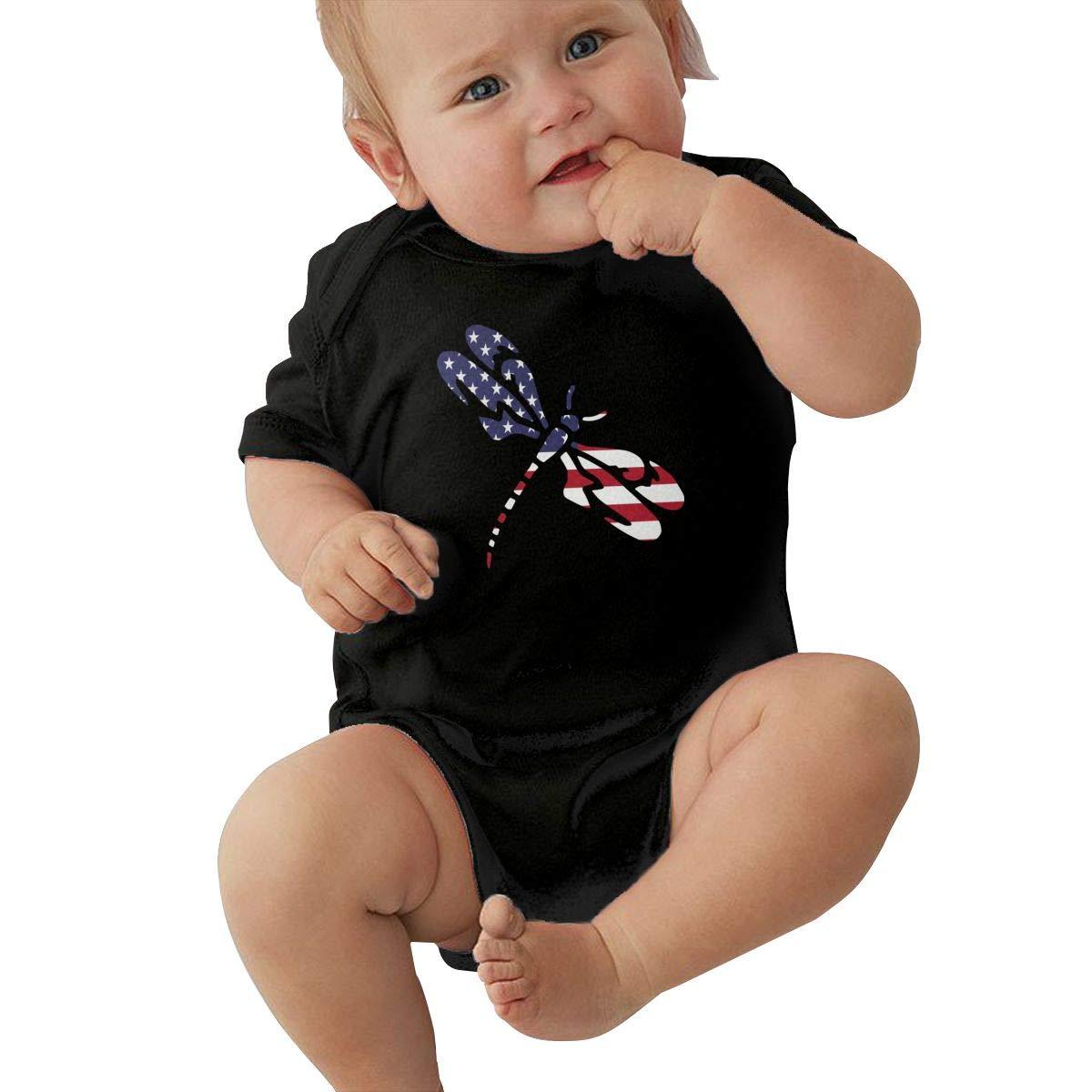 Newborn Baby Girl Boy Tribal Dragonfly USA Flag Romper Romper Jumpsuit Short Sleeved Bodysuit Tops Clothes