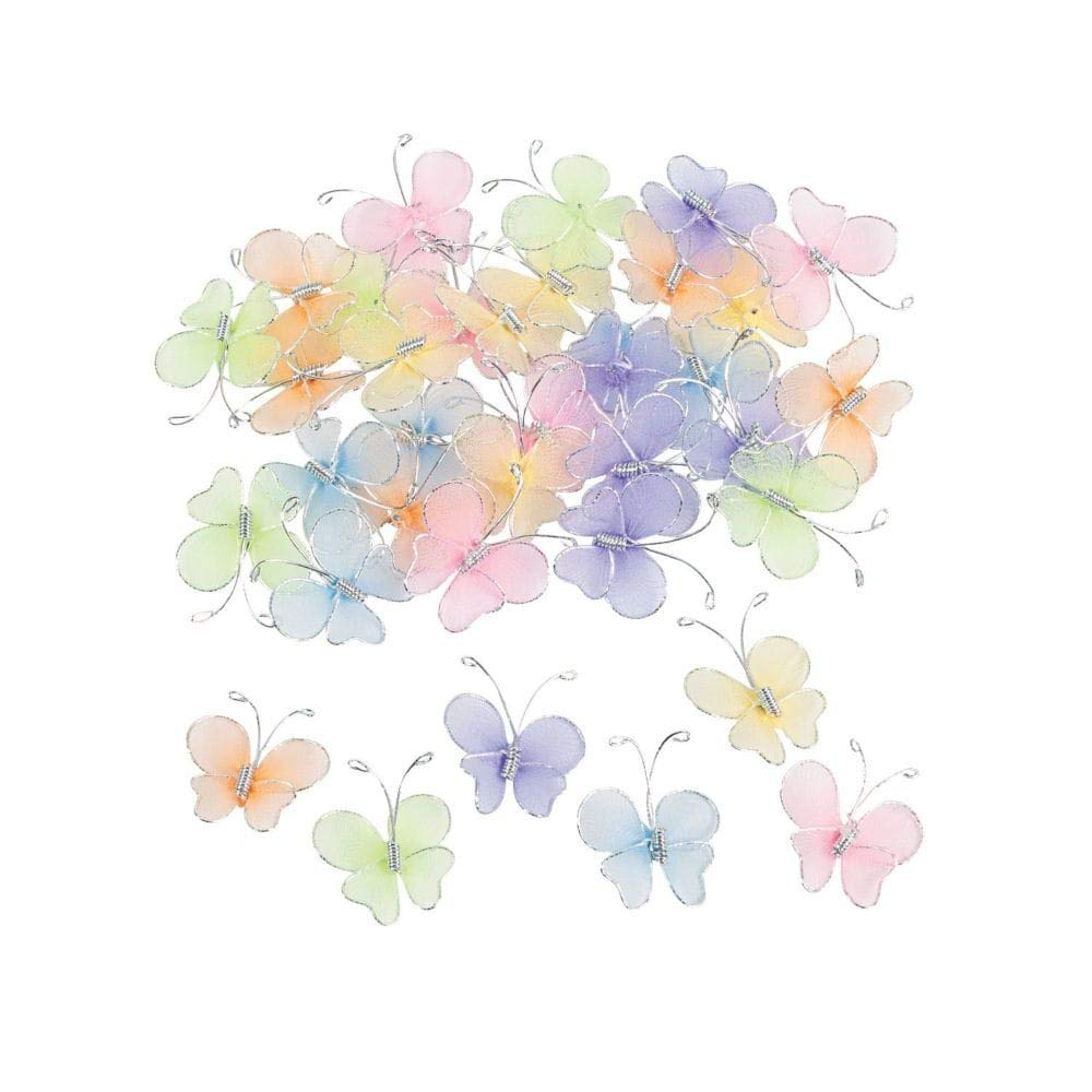 Fun Express Nylon Butterfly Decorations - 36 Piece Pack 48/2326