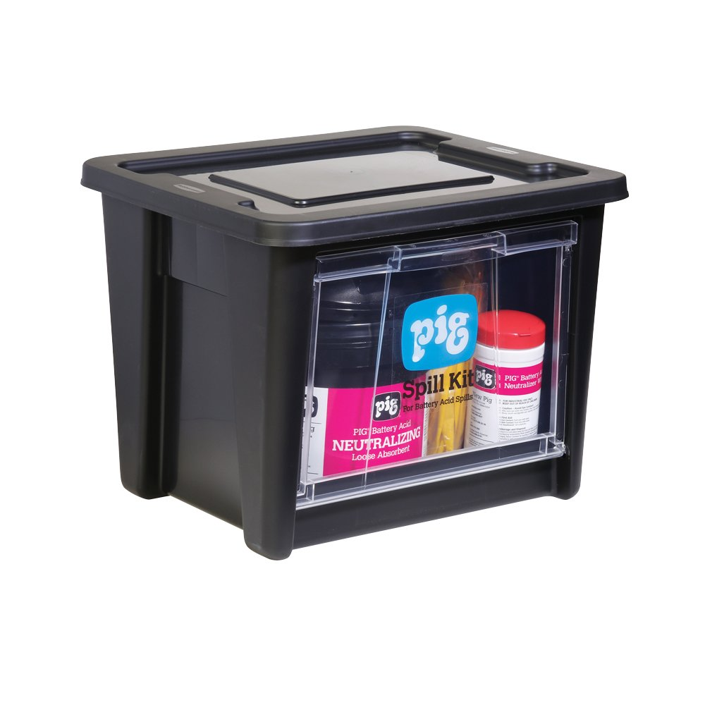New Pig Battery Acid Spill Kit in See-Thru Bin, Absorbs Battery Acid Up to 5-Gal, Neutralizing Absorbents, KIT322