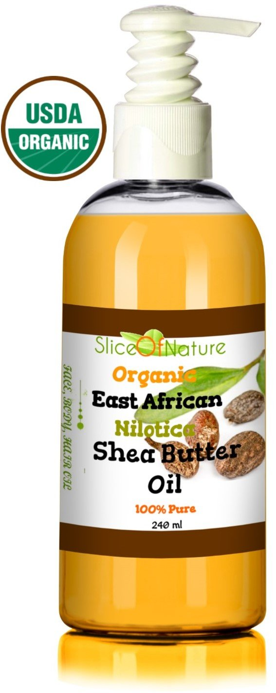 Organic Shea Butter Oil 100% Pure - Rare Nilotica East African Shea - Natural Shea Butter Lotion Luxurious Hydrating Healing Highest Quality Shea Butter for Hair, Face, Body By Slice of Nature - USDA NOP Ecocert Certified 8 oz