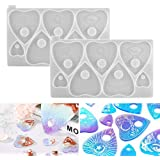 Home Decoration Juanya 2 Pack Ouija Board Resin Mold Heart Shapes Pendant Charms Epoxy Mould with Hole for DIY Resin Crafts Casting Making Jewelry