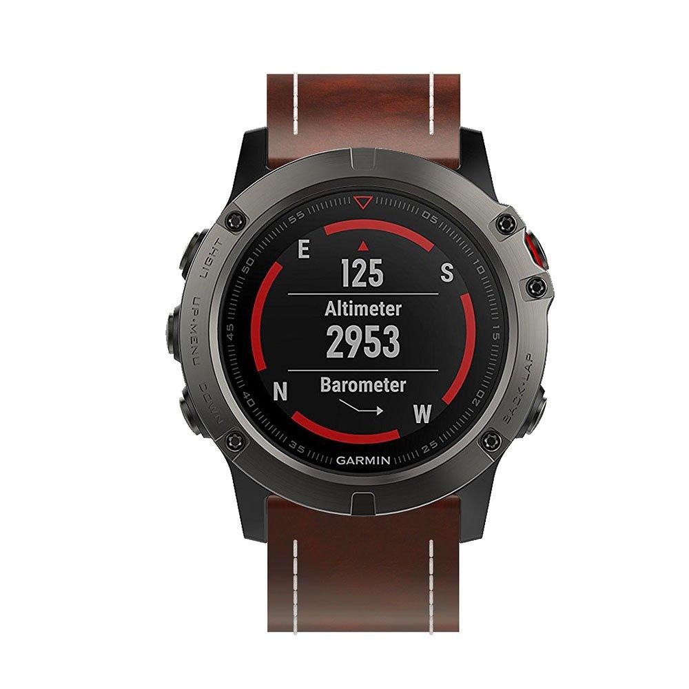 Garmin Fenix 5X reloj banda, Topten piel correa de muñeca banda pulsera de repuesto para Garmin Fenix 5X reloj inteligente, 0.04 pounds, color azul marino: ...