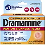 Dramamine Motion Sickness Relief Chewable Tablets, Orange, 8 Count