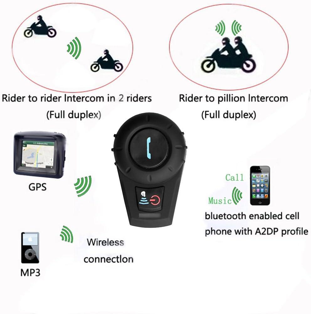 Freedconn FDC01 Moto Intercom Oreillette Bluetooth Plug Casque de Moto Interphone 500M Noir EU