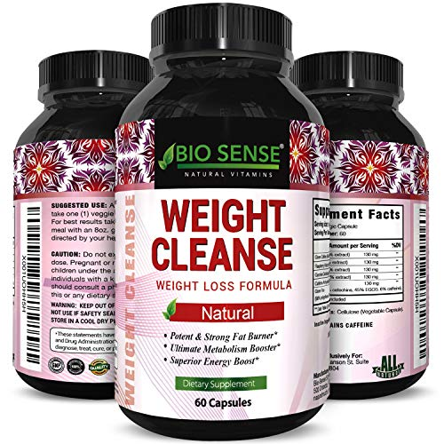 Natural Garcinia Cambogia Weight Loss HCA - Women and Men Pure Green Coffee Bean appetite suppressant Control Supplements Green Tea EGCG Energy Workout Boost - Detox Cleanse Supplement Biosense       ()