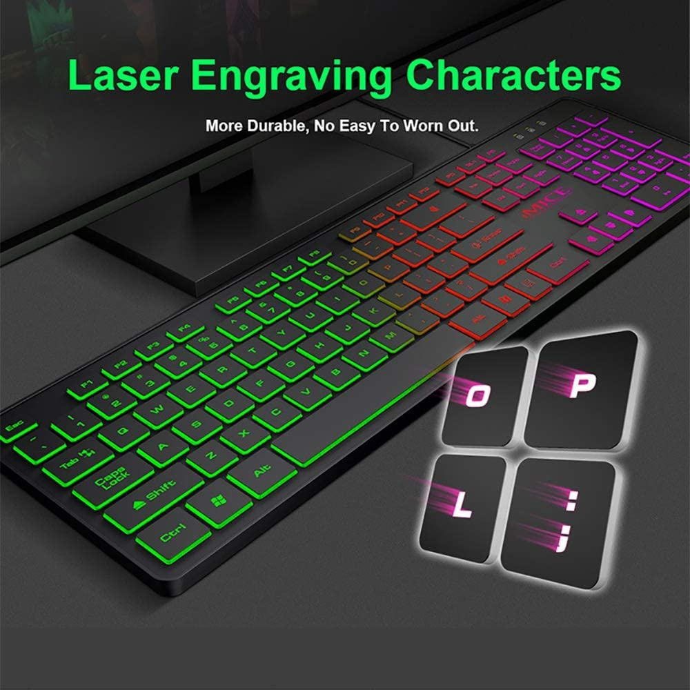 LINGYUN Ultra-Thin Gaming Keyboard Support for Multiple Operating Systems Suitable for Game//Work//Office Use 3-Color Backlight Ergonomic Design
