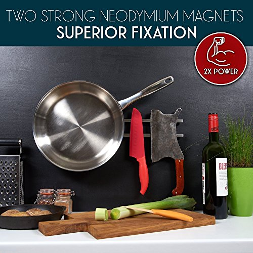 18 inch Magnetic Knife Holder From Any Kitchen Stuff - Stainless Steel Magnet Tool Bar With 6 Removable Hooks, Wall Mount Home Organizer Rack Strip for Metal Utensil Set - Includes Screws and Hardware