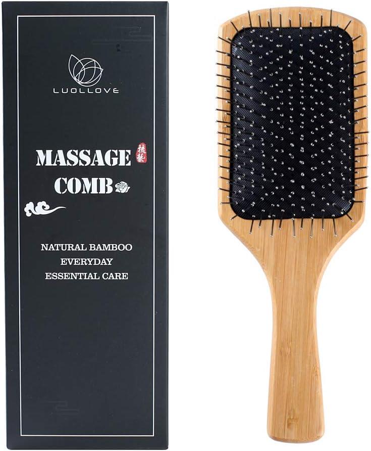 Cepillo Bambu,LUOLLOVE Cepillo Pelo con Cerdas Naturales,Hair Comb Anti Static,Regalo Cepillo Cabello para Mujer,Hombres y Niños(C Tipo)