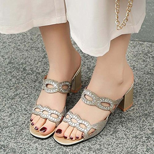Square MHX Size Women's Sandals Shoes Out New Summer Slippers Cool Rhinestones Hollow Gold U6vOqUnFxw