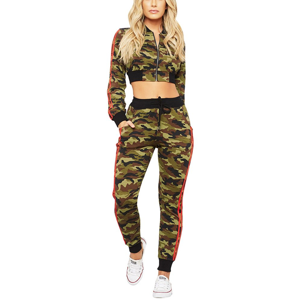 Jihe Women's Two Piece Set Sexy Outfits Camouflage Long Sleeve Crop Top Pants Bodycon Jumpsuit L