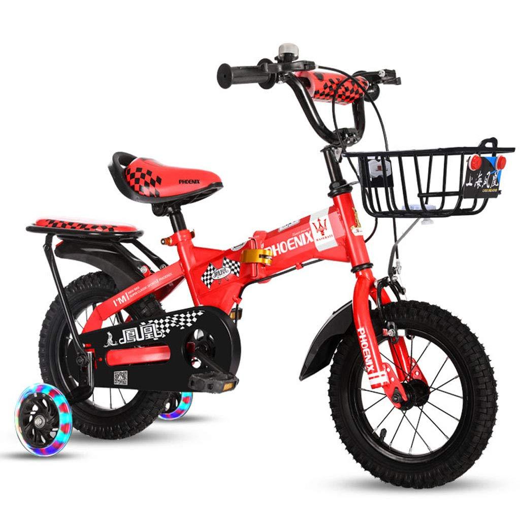 【即発送可能】 子供の自転車2-3-5-6-8歳の衝撃吸収の乳母車12/14/16/18インチ折りたたみ子供の自転車子供の自転車 - 後部座席給水ボトル補助ホイール付き red 16in 16in red A A B07PRTVDMF, 【超特価SALE開催!】:bc4da63e --- senas.4x4.lt