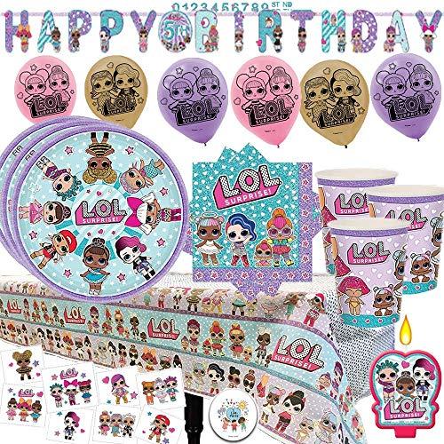 LOL Surprise Mega Party Supply Pack y decoraciones para 16 invitados con platos, tazas, servilletas, manteles, velas LOL, tatuajes, 6 globos, pancarta de cumpleaños y pin exclusivo de Another Dream