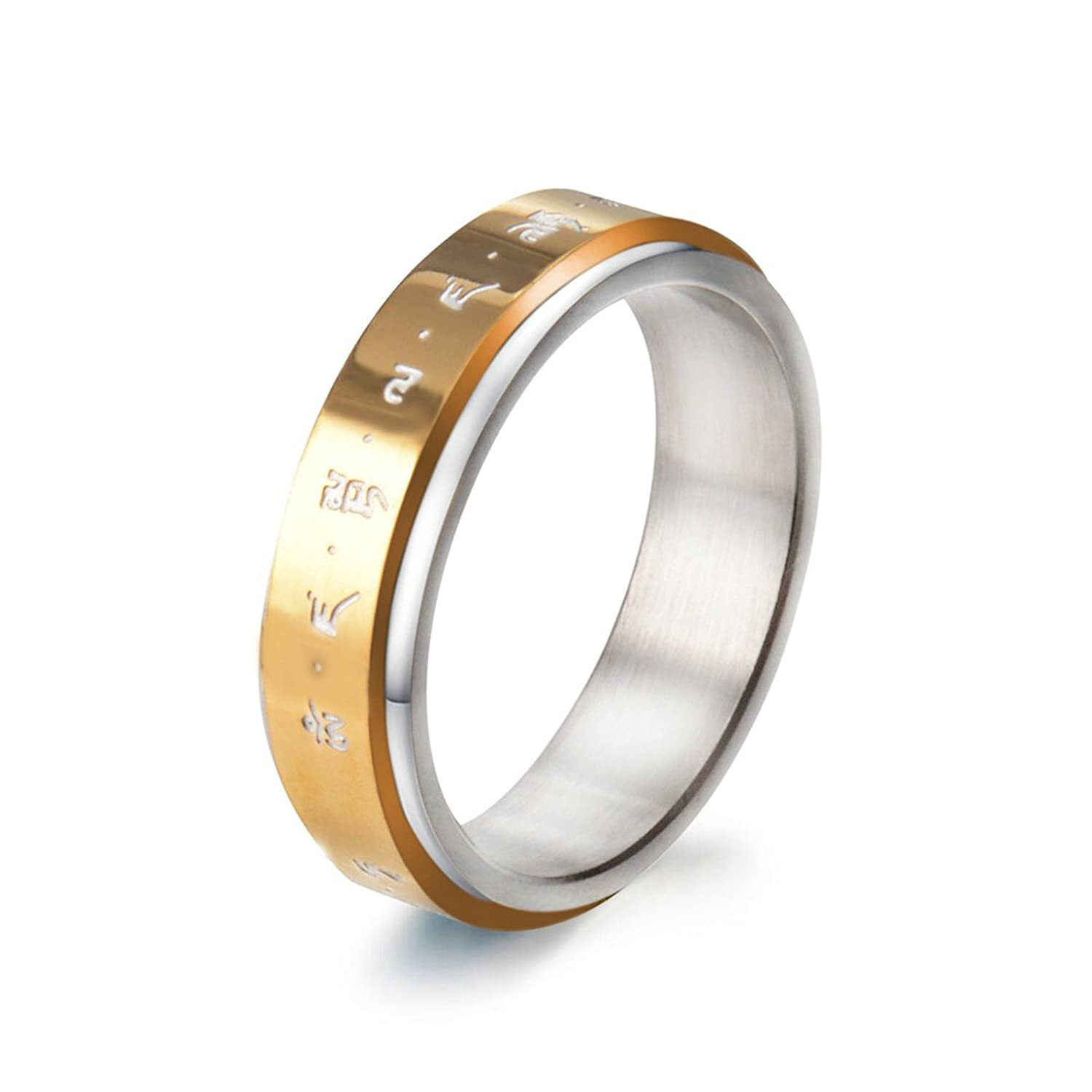 Bishilin Stainless Steel Rings Vintage with Mantra Width 6 Mm Round Wedding Ring Men Gold Size 8