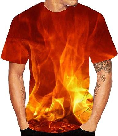 AIMEE7 Ropa Hombre Camiseta Casual Manga Corta con Cuello Redondo y Estampado Digital 3D de Fuego Casual Deportiva de Primavera, Verano y otoño, Camiseta y Camisa para Hombre de Moda 2019: Amazon.es: