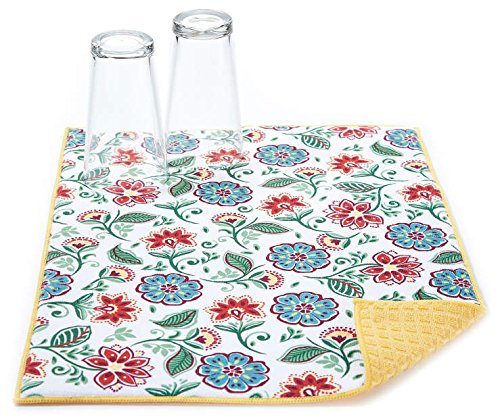 Traditional Floral Jacobean Reversible Dish Drying Mat by Unknown