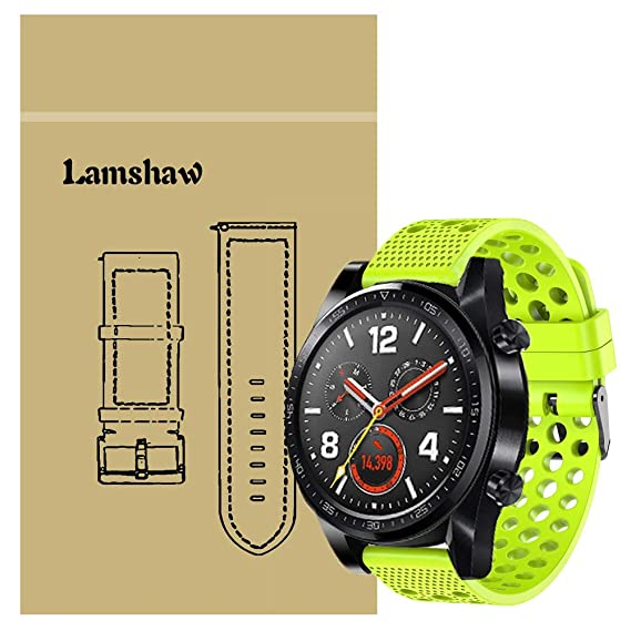 for Huawei Watch GT Band, Lamshaw Silicone Replacement Wristbands Sport Strap with Metal Buckle for Huawei Watch GT Smartwatch (Green)