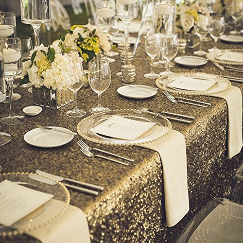 "Decor Luxurious Sequins Tablecloth for Cafe - PONY DANCE Rectangular Glitz Decorative Table cloth,Squin Linens Tablecloths,53"" x 72""(135cmx182cm),Light Gold"