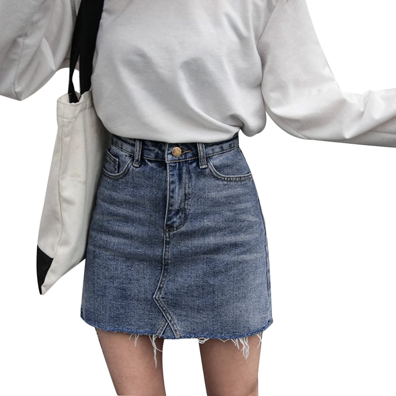 8308c43eab The Blend of Cowboy Makes for a Very Soft and Comfortable Fabric with a  Nice Stretch,Stylish Women A-line Denim Skirts Make You Full of Fashion  Charm